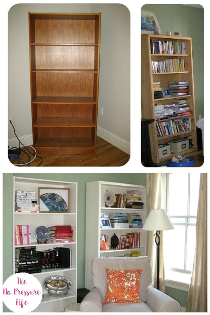 Before and after collage of a bookcase makeover with latex paint