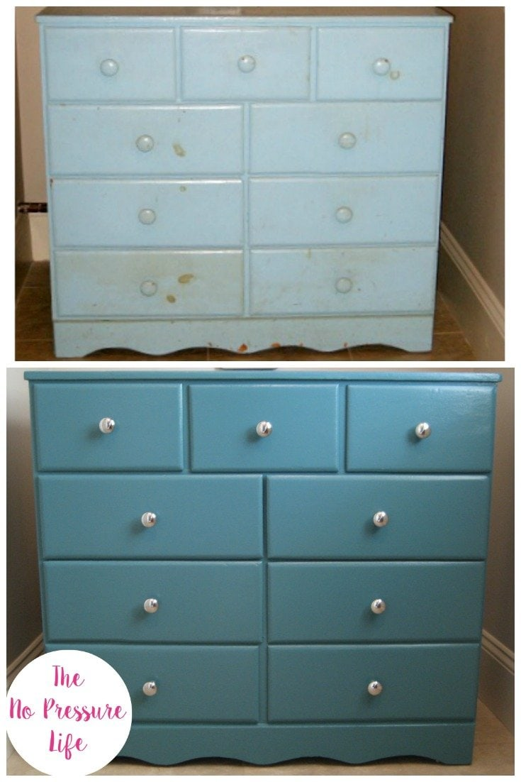 teal blue dresser makeover