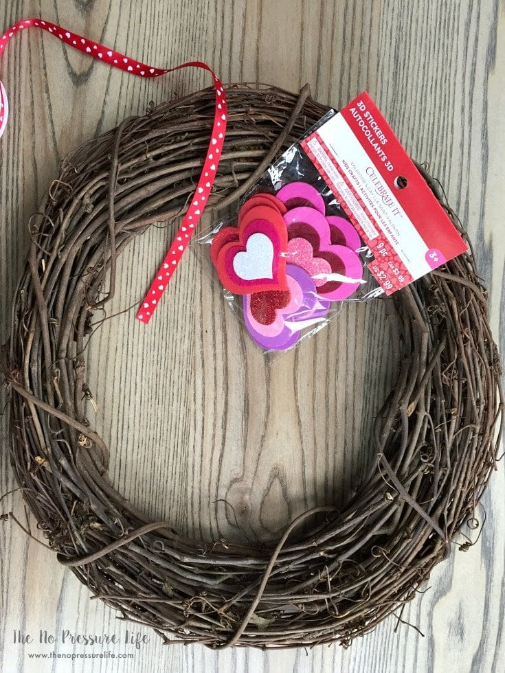 DIY Valentine's Day grapevine wreath with hearts
