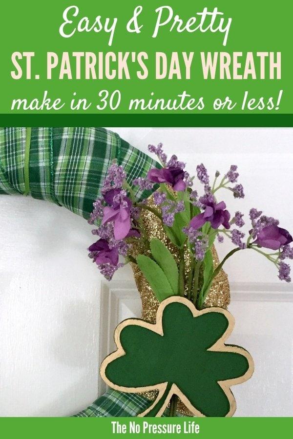DIY St. Patrick's Day wreath - homemade shamrock wreath craft