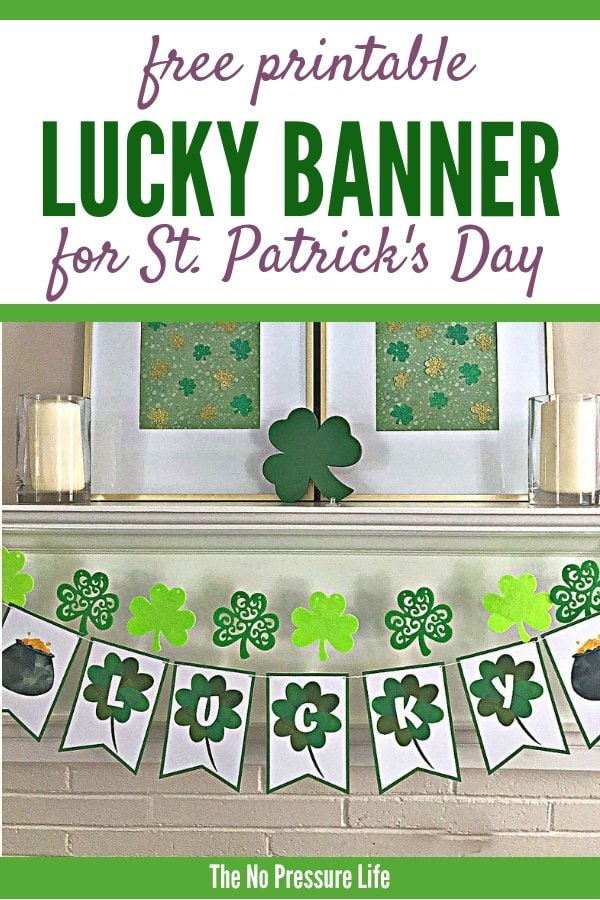 free printable luck banner for St. Patrick's Day