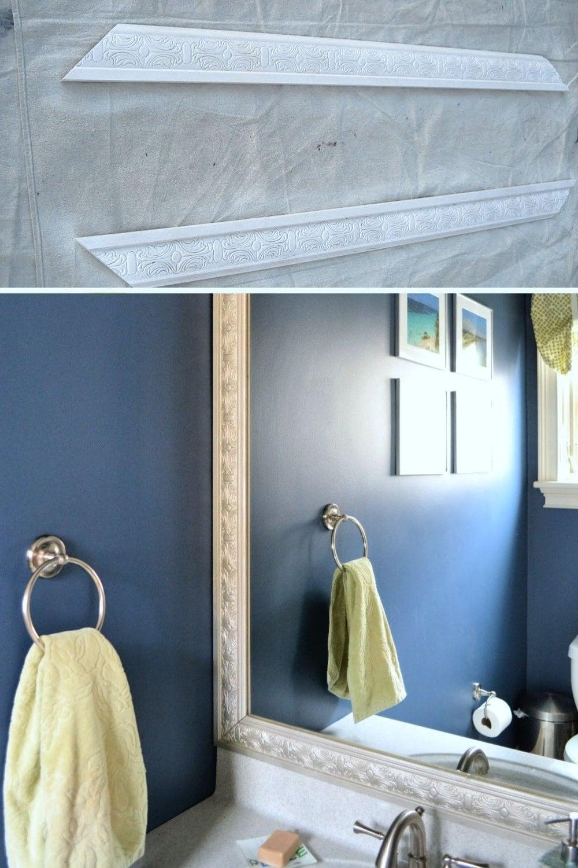 Easy DIY spray paint ideas - spray painting wood trim for bathroom mirror