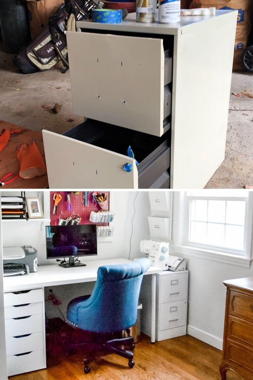 Easy DIY spray paint ideas - spray painting metal file cabinet