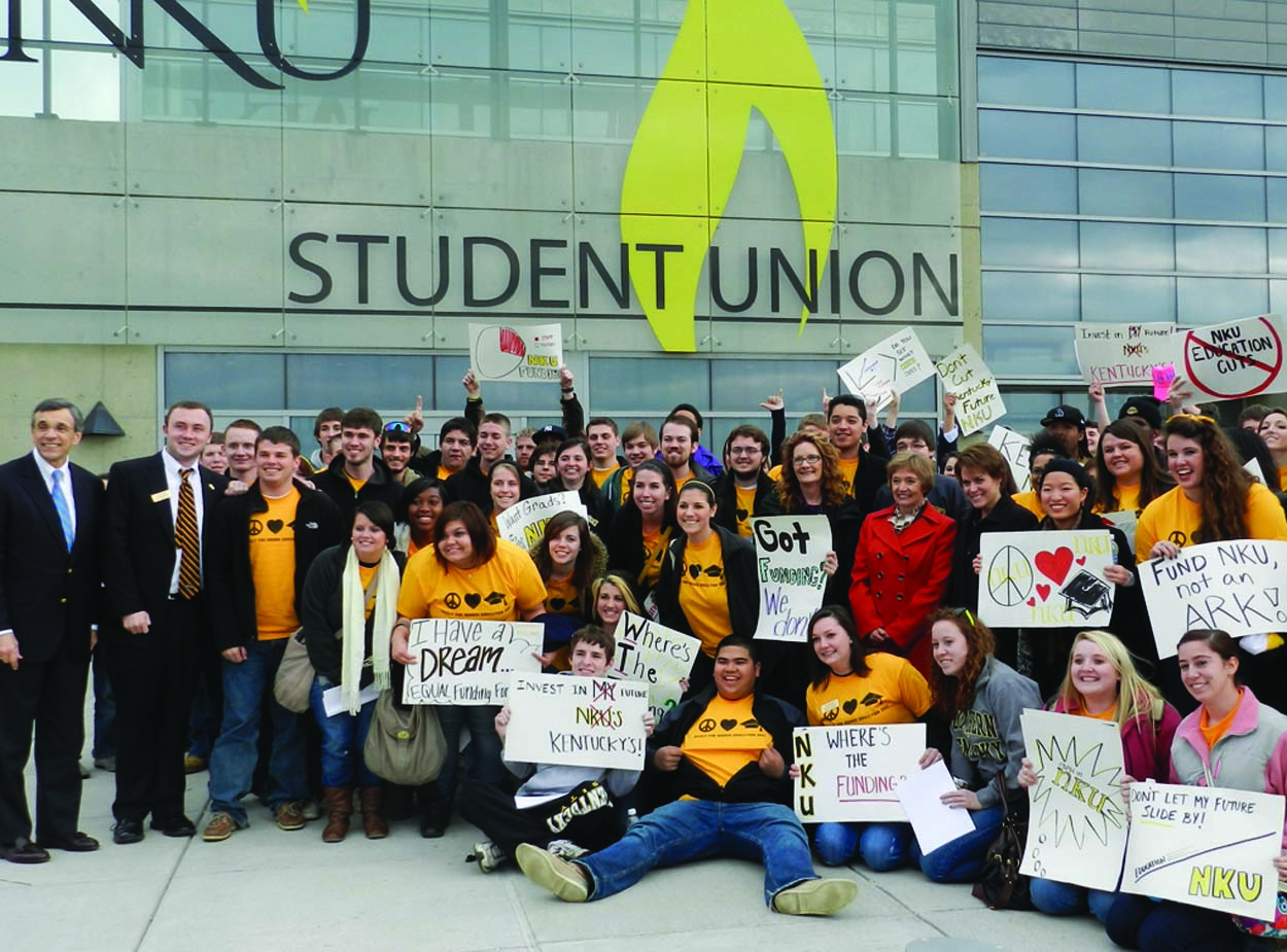 Students from Northern Kentucky University, University of Louisville, University of Kentucky and Eastern Kentucky University, among others, gathered at the capitol building in Frankfort, Ky. to fight for more state funding at the Rally for Higher Education Feb. 7. Approximately 100 NKU students attended the rally, where university SGA presidents spoke about why more funding is important for their education. NKU SGA stressed the importance of calling legislators directly.