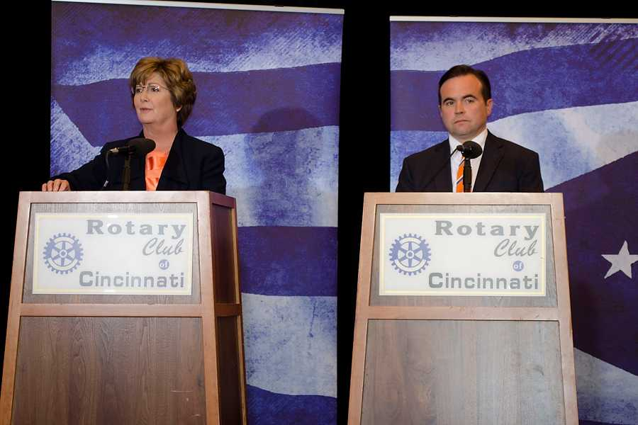 Cincinnati+mayoral+candidates+Roxanne+Qualls+%28left%29+and+John+Cranley+%28right%29+shared+their+viewpoints+on+several+issues+at+their+debate+on+Oct.+24.+This++final+Cincinnati+mayoral+debate+took+place+at+12%3A30+p.m.+at+the+Hyatt+Regency+Ballroom.%0A%0A