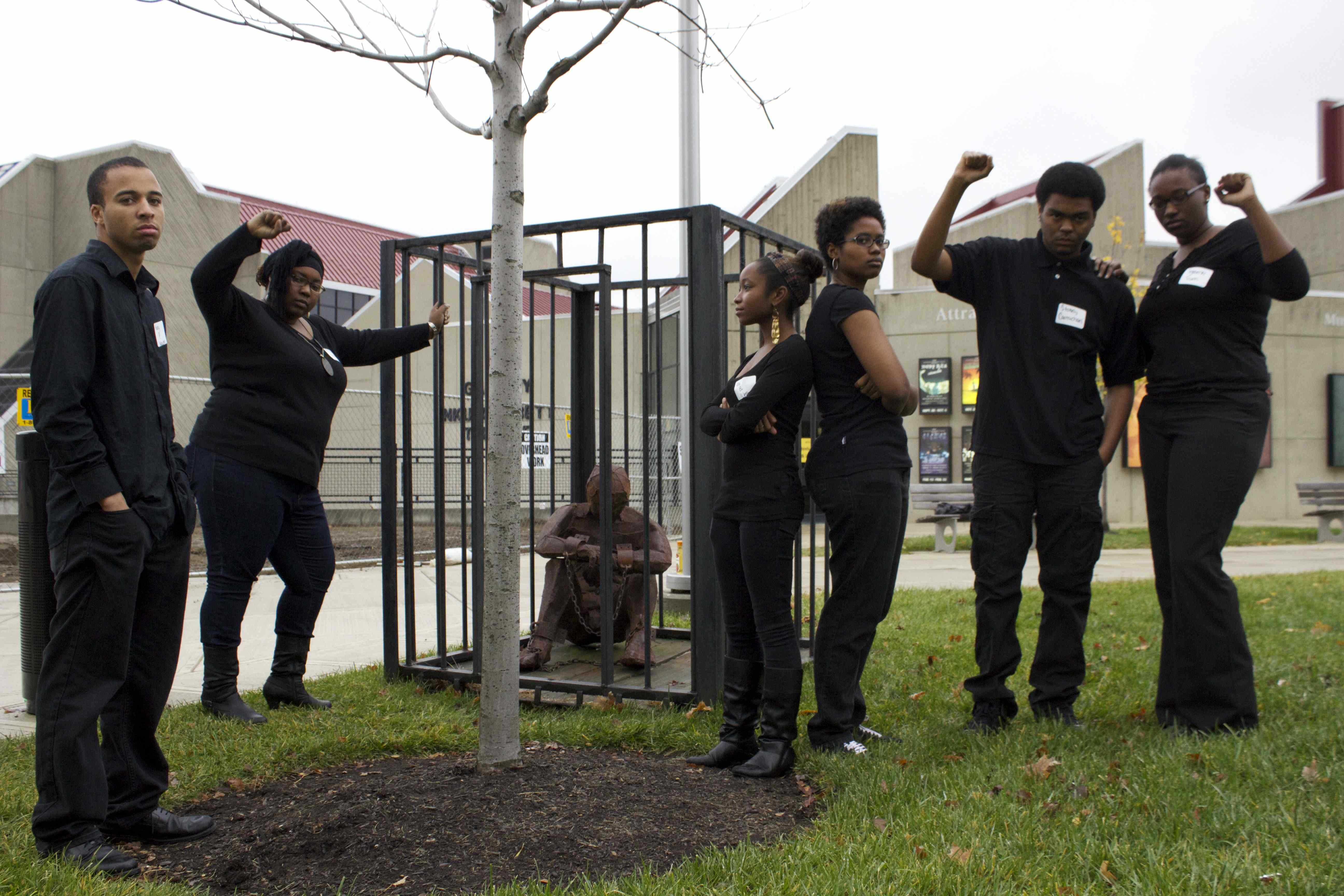 Members of the Black United Students organization at NKU pose on campus. Some members of this organization have recently voiced their concerns with the treatment of African-Americans within the university.