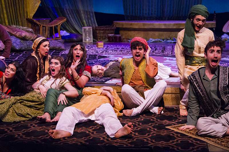 The cast of Arabian Nights in dress rehearsal.