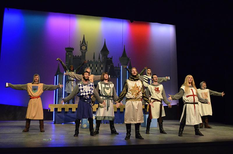 The+cast+of+NKU%27s+production+of++Spamalot+takes+the+stage.+