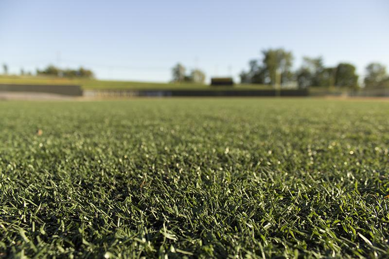 Artificial turf on the Bill Aker Baseball Complex at Friendship Field.