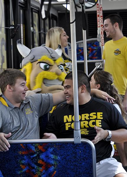 Victor E. Viking and NKU students taking route 35x.