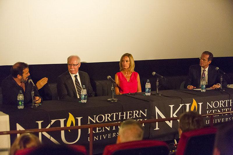Michael Cuesta, Rich Boehne,  and Sue Bell-Stokes take part in a panel discussion lead by President Mearns after an NKU screening of 'Kill the Messenger'.