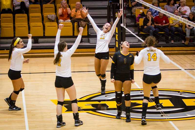 NKU players celebrate after an NKU point in NKU's come from behind win. NKU defeated Lipscomb 3-2 at Regents Hall on Friday, Oct. 24, 2014.