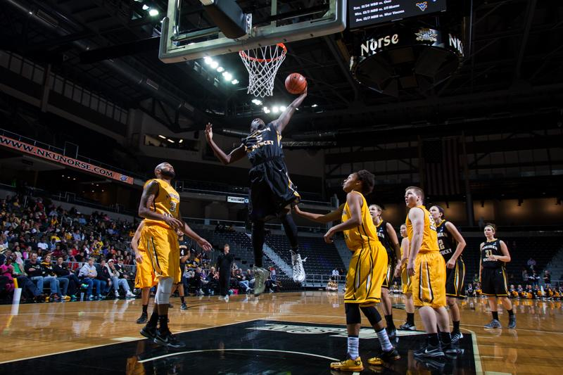 Freshman guard Jordan Garnett goes up for the rebound during NKU's Black and Gold Madness Scrimmage.