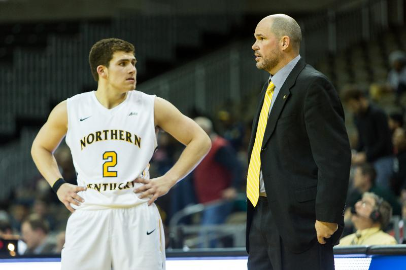 NKU+Head+Coach+Dave+Bezold+talks+to+Tayler%C2%A0Persons+%282%29+during+the+second+half+of+NKU%27s+68-55+win.+NKU+defeated+North+Carolina+A%26T+68-55+in+their+home+opener+on+Wednesday%2C+Nov.+19%2C+2014+at+the+Bank+of+Kentucky+Center.
