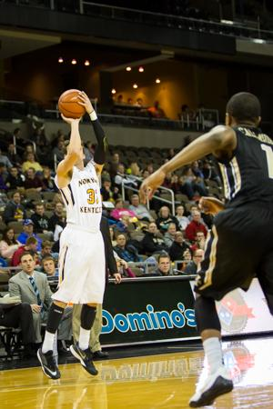 NKU's Anthony Monaco shoots the ball during the first half of NKU's home win over Idaho. NKU defeated Idaho 81-68 on Monday, Dec 22, 2014 at The Bank of Kentucky Center.