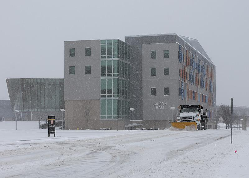 Snow+plow+trucks+work+to+clear+roadways+on+campus.+NKU+was+closed+Monday%2C+Feb.+16+due+to+inclement+weather.