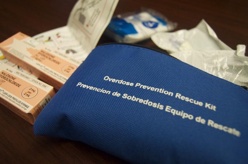Each overdose prevention kit includes two doses of Naloxone, step-by-step instructions, a nasal atomizer delivery device, a rescue breathing mask, latex gloves and a list of local treatment facilities.