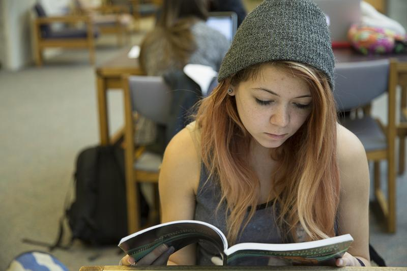 A student, Ashli Sibrel, studied for finals. This semester, more options will have extended hours for students to utilize during finals.