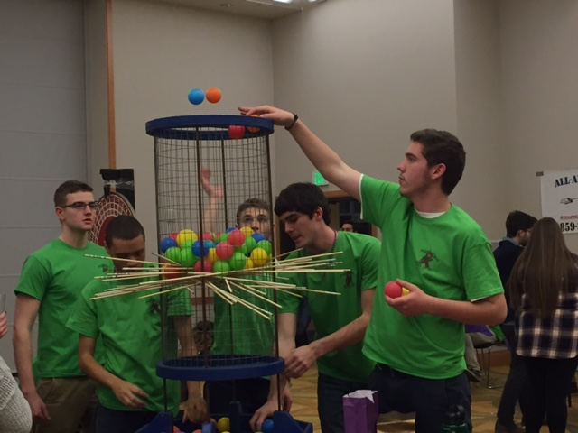 ATO brothers Rob Wilhite, Michael Kirtley, Evan Wall, Grant Schwarber, and Neill Abel playing Kerplunk! ATO's annual event Mardi Taus took place on Saturday, Feb. 27.