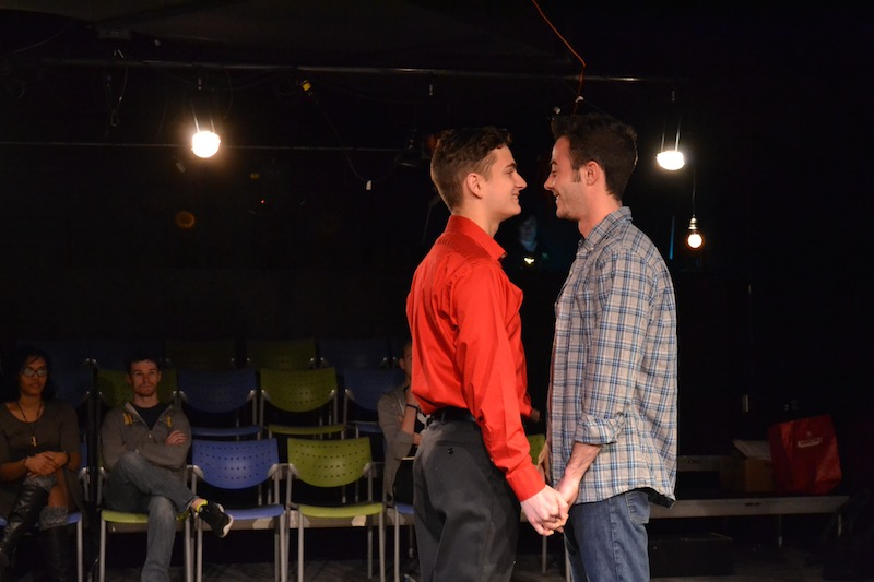 Colin Kissel, playing John and George Ivan, playing John's boyfriend rehearsing for