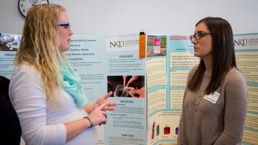 Abagaile Long, a student in the Master's program for social work, showcases her findings at Celebration on April 12. Long researched prevalence of drugs on campus.