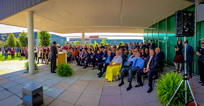 President+Mearns+addressed+the+crowd+Thursday+at+the+final+beam+ceremony+for+the+Health+Innovation+Center.++The+facility+is+on+schedule+to+be+completed+by+Fall+2018.