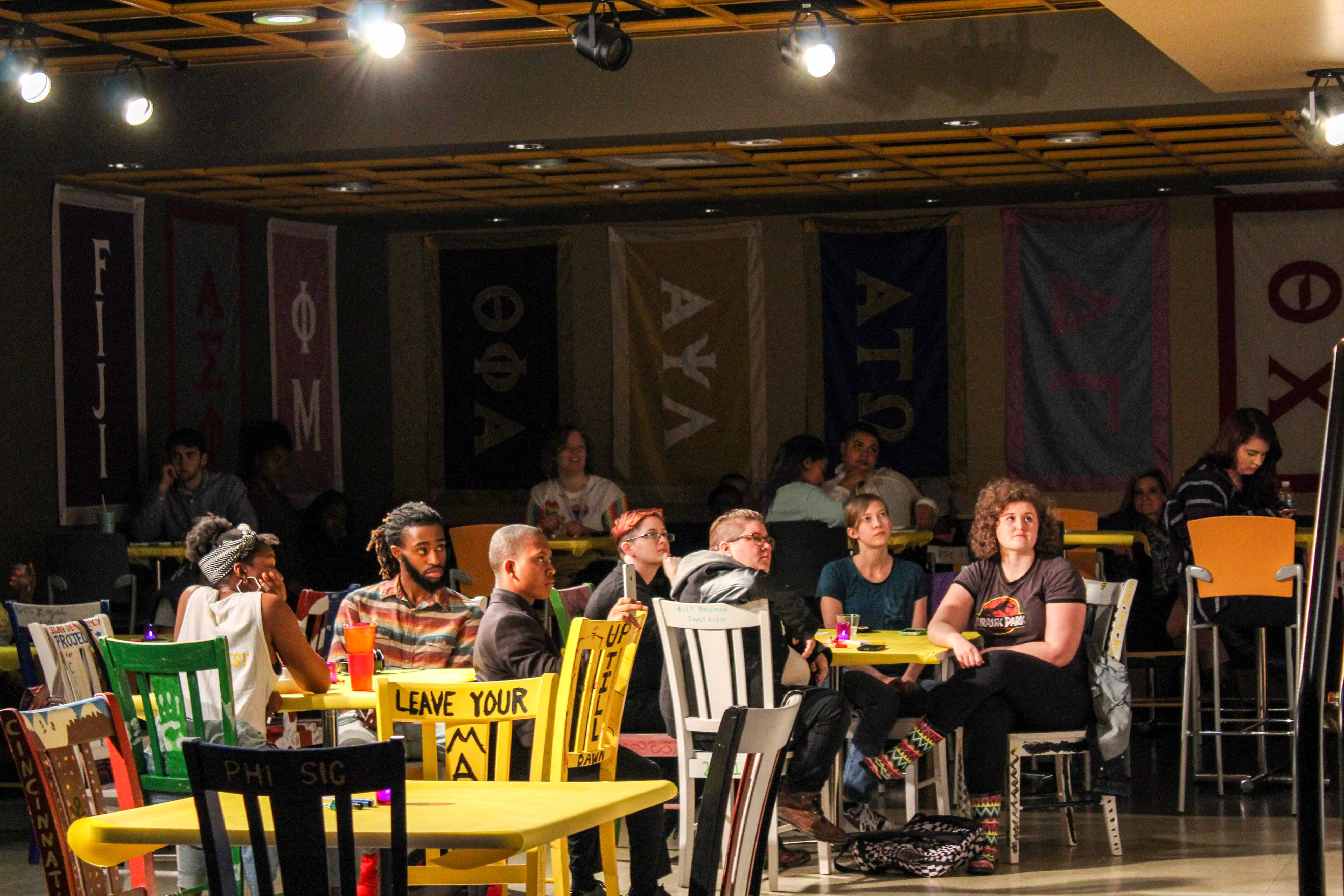 Students watch from the audience as participants perform at the 4th Annual LGBTQ Norse Pride Open Mic Night.