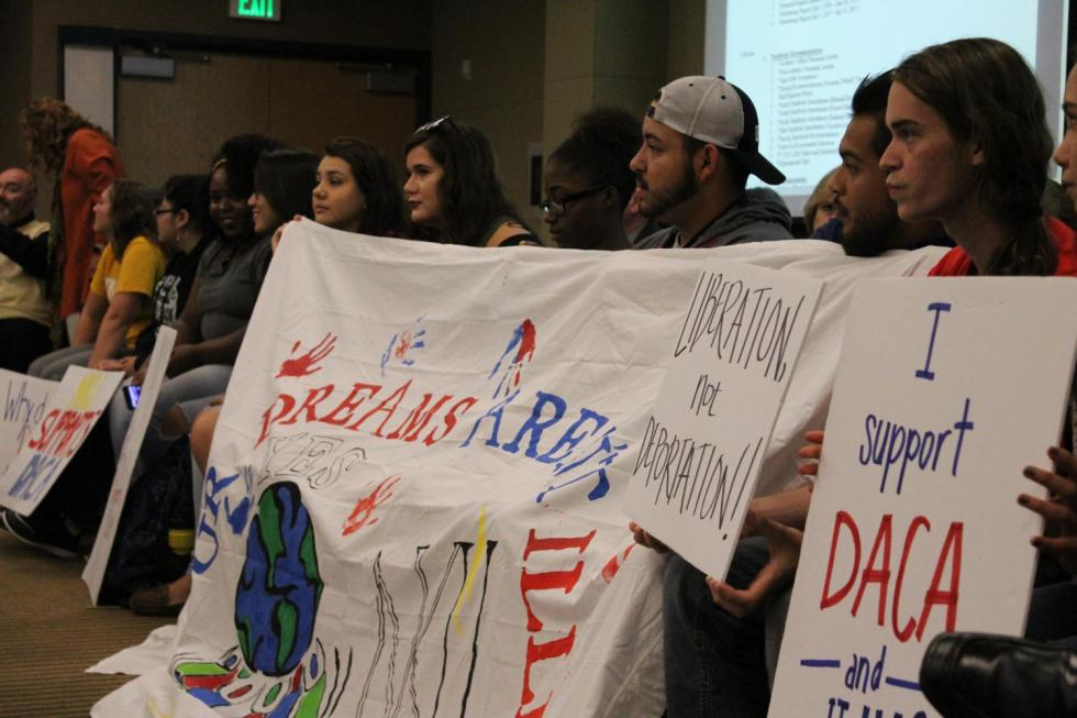 Students+gathered+at+Board+of+Regents+in+support+of+DACA.+