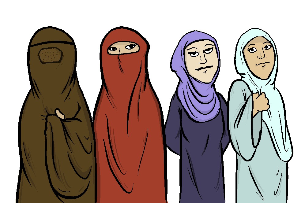 Muslim headdresses from left to right : burqa, niqab, hijab, and chador.