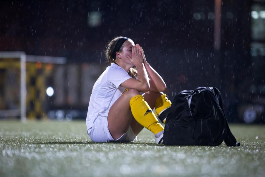 Jessica+Frey+%2812%29+reacts+to+the+3-2+loss+to+IUPUI+in+the+final+game+of+her+senior+season+in+the+Semi-Final+game+of+the+Horizon+League+Women%27s+Soccer+Tournament+in+Milwaukee%2C+Wisconsin.