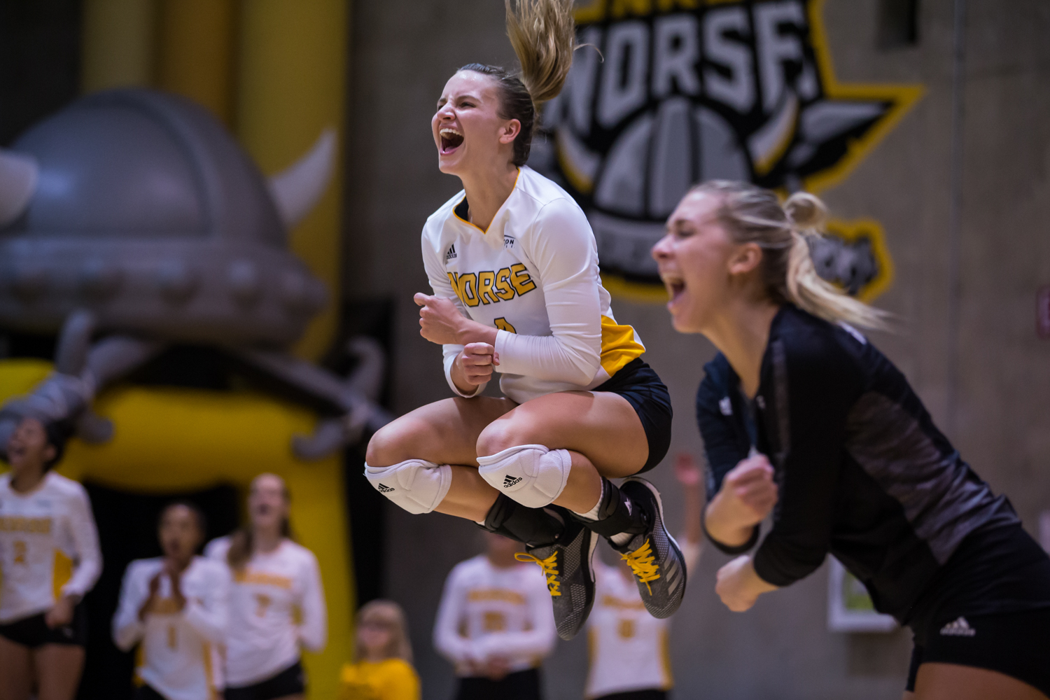 Haley Libs (4) celebrates after a Norse point during the game against Green Bay.
