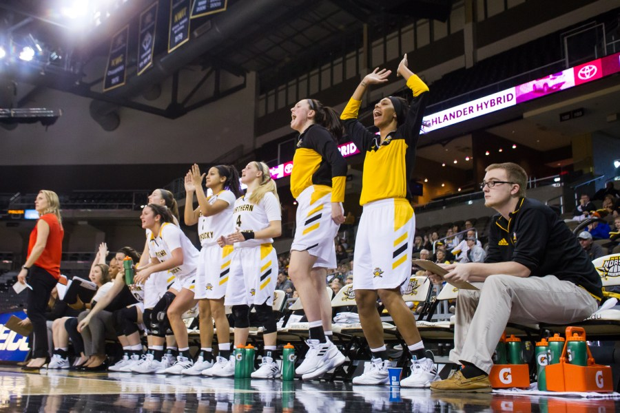 NKU+Women%27s+Basketball+Players+cheer+after+a+point+during+the+game+against+Green+Bay.+The+Norse+fell+81-61.