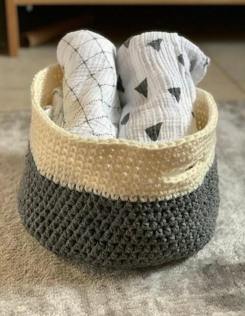 Easy crochet basket pattern.