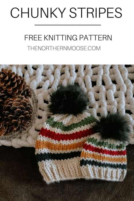 Chunky stripes free knitted hat pattern