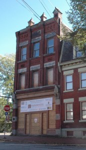 One of two corner buildings slated for renovation.