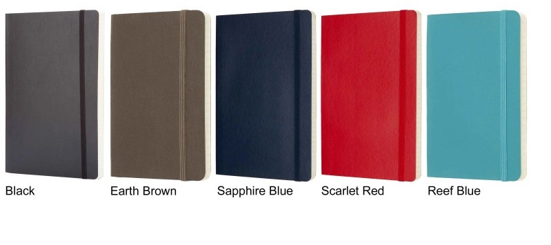 Softcover Moleskine colours, part of the Customised Moleskine range from The Notebook Warehouse.