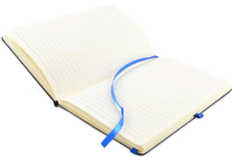 Image showing notebook interior of Bowland Contrast promotional notebooks which is 160 ruled pages on Cream 80gsm paper from The Notebook Warehouse.