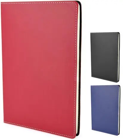 Image showing group shot of Stitch Edge Flexible Branded Notebooks with Red Cover, from The Notebook Warehouse