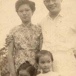 Lee (front left) with her parents and sister