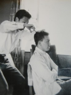 Lim on barber duty for a friend during his university days