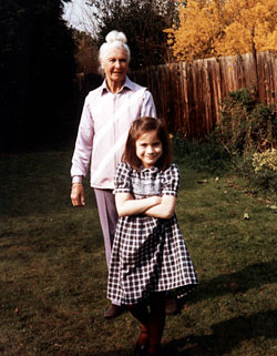 With her paternal grandmother in England
