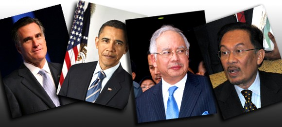 (From left) Mitt Romney, Barack Obama, Najib and Anwar (Romney and Obama pics source: Wiki commons)