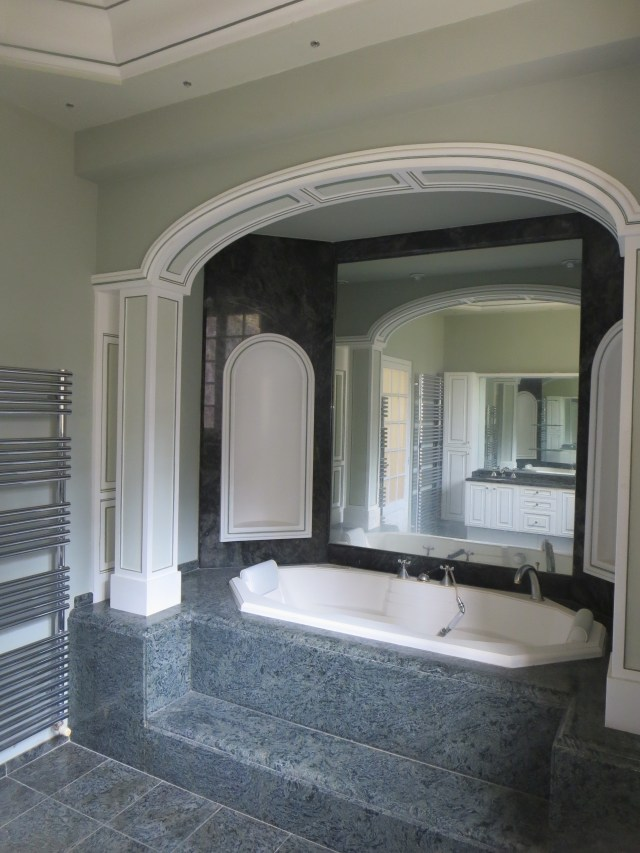 The green marble Princess Bathroom, as purchased. Note the tiny disco lights dancing around the tray ceiling.