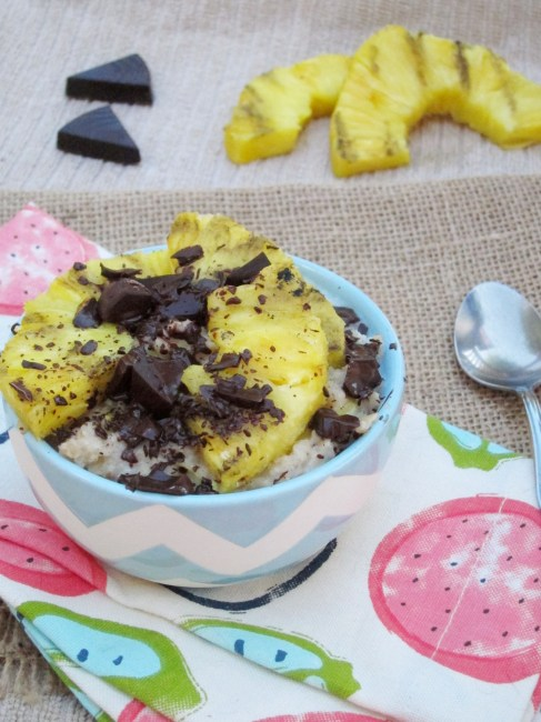 Grilled Pineapple and Dark Chocolate Oatmeal by The Oatmeal Artist #vegan