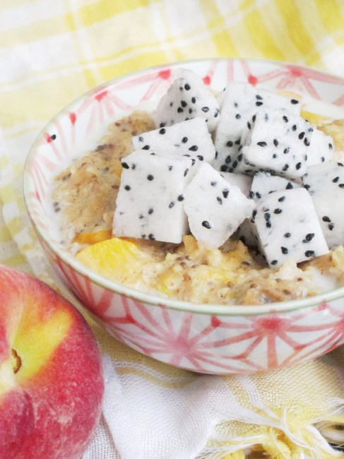 Spiced Peach and Dragon Fruit Oatmeal by The Oatmeal Artist #vegan