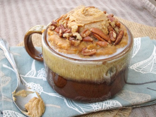 Spiced Pumpkin Oatmeal with Java PB2 #oatmealartist