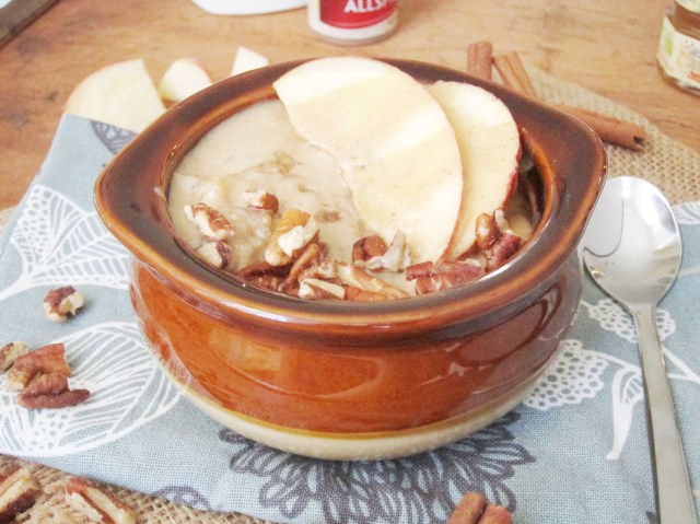 Apple Oatmeal with Tahini, Honey, and Pecans