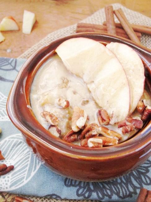 Apple Oatmeal with Tahini and Honey