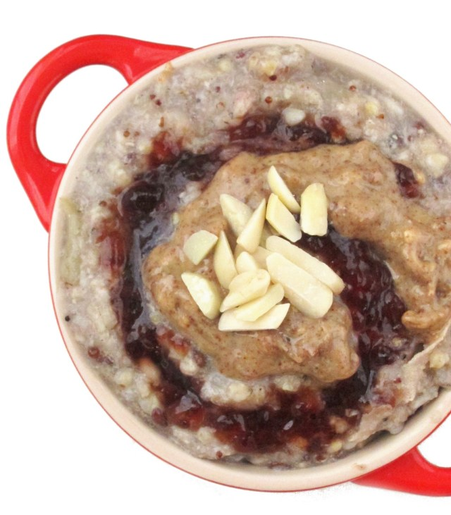Applesauce Ancient Grain Oatmeal with Cherry Jam and Almond Butter