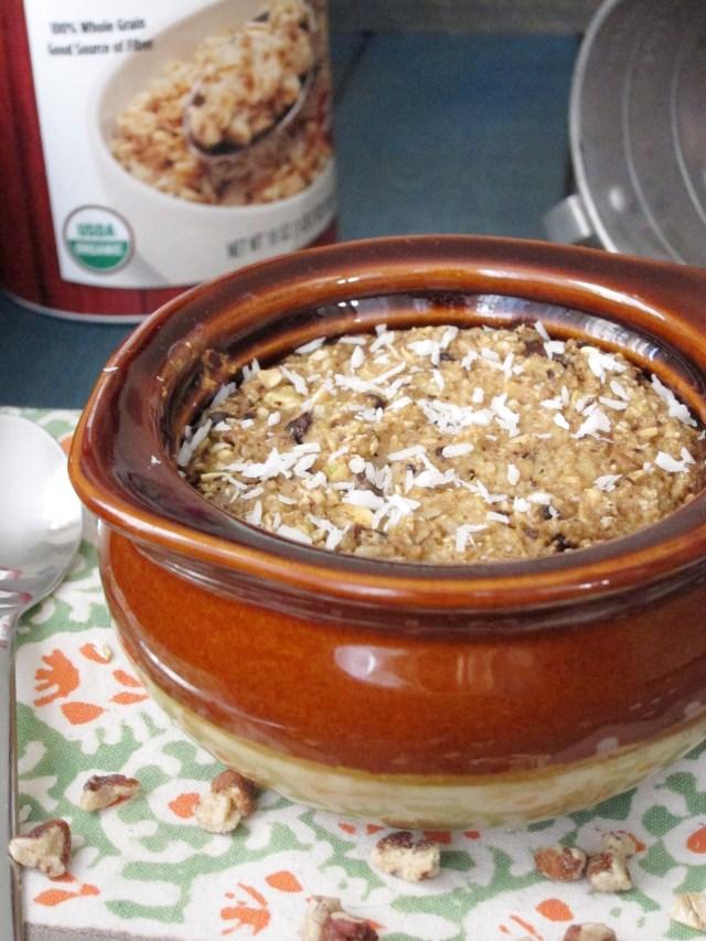 Cowboy Cookie Baked Oatmeal #OatmealArtist #Vegan
